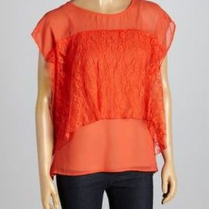 A'reve Orange Lace Overlay Shortsleeve Top M
